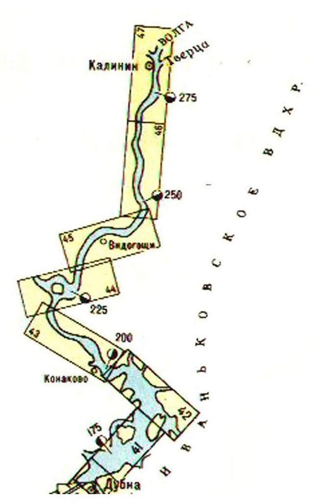 Карта Иваньковского водохранилища